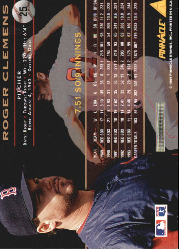 1994 Pinnacle #25 Roger Clemens back image