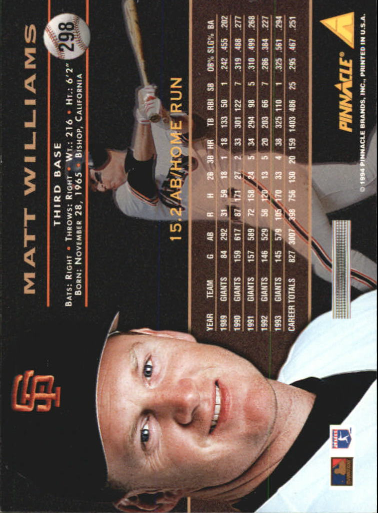 1994 Pinnacle #298 Matt Williams back image