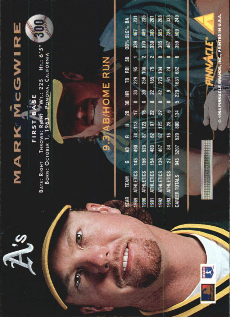 1994 Pinnacle #300 Mark McGwire back image