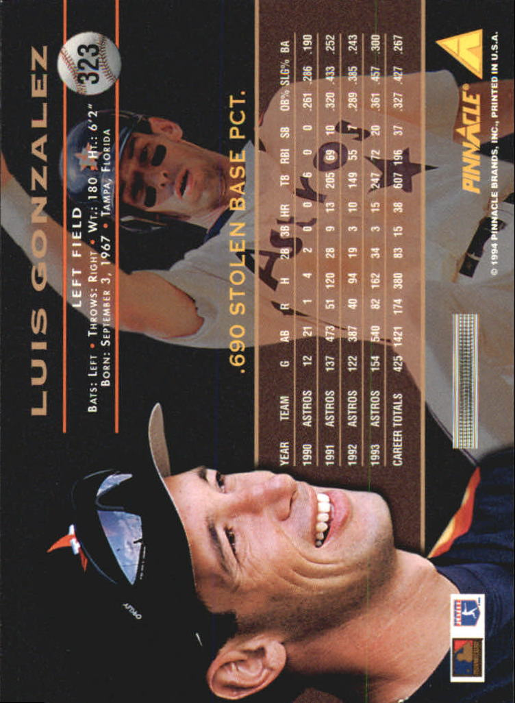 1994 Pinnacle #323 Luis Gonzalez back image