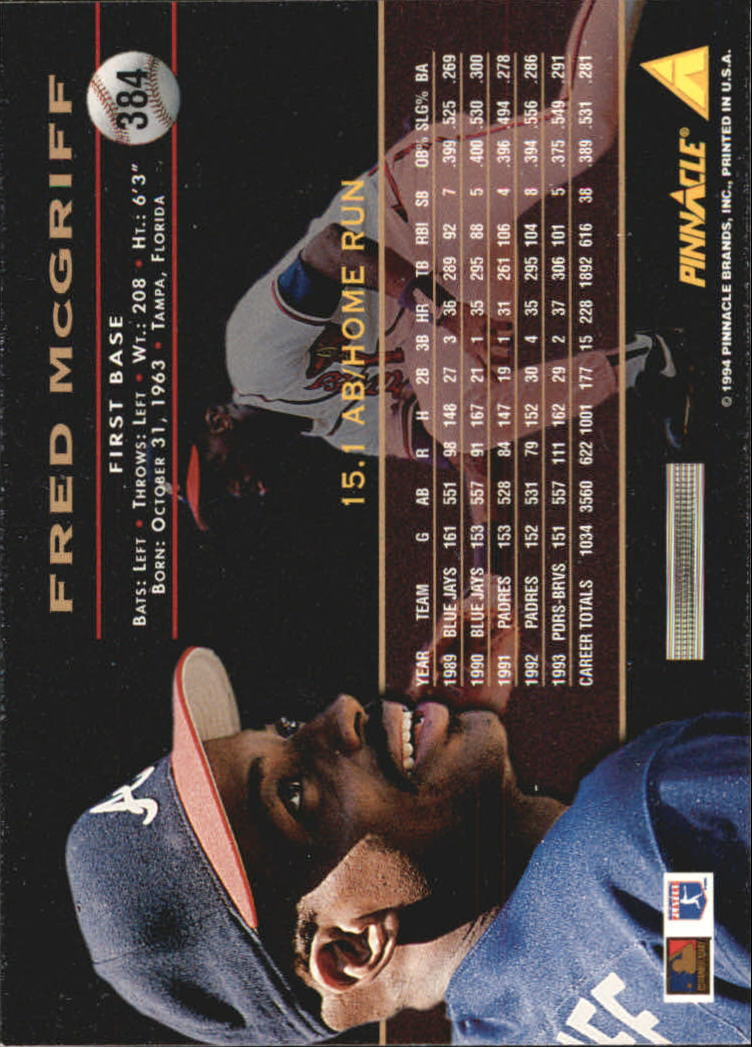 1994 Pinnacle #384 Fred McGriff back image
