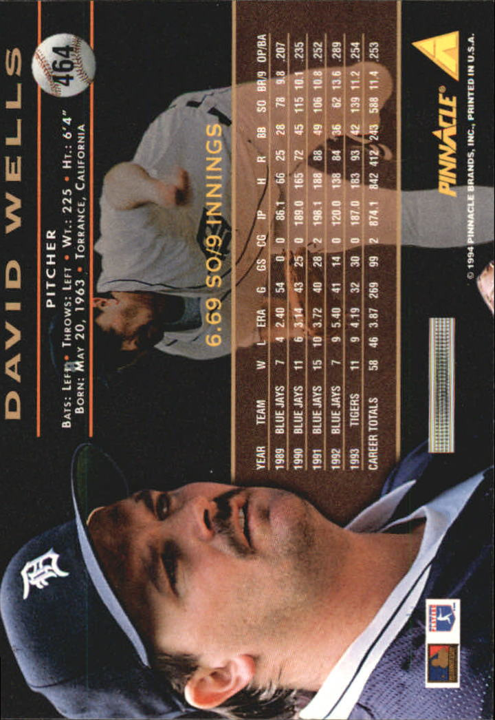 1994 Pinnacle #464 David Wells back image