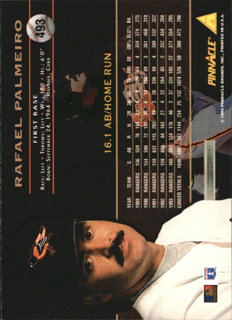 1994 Pinnacle #493 Rafael Palmeiro back image