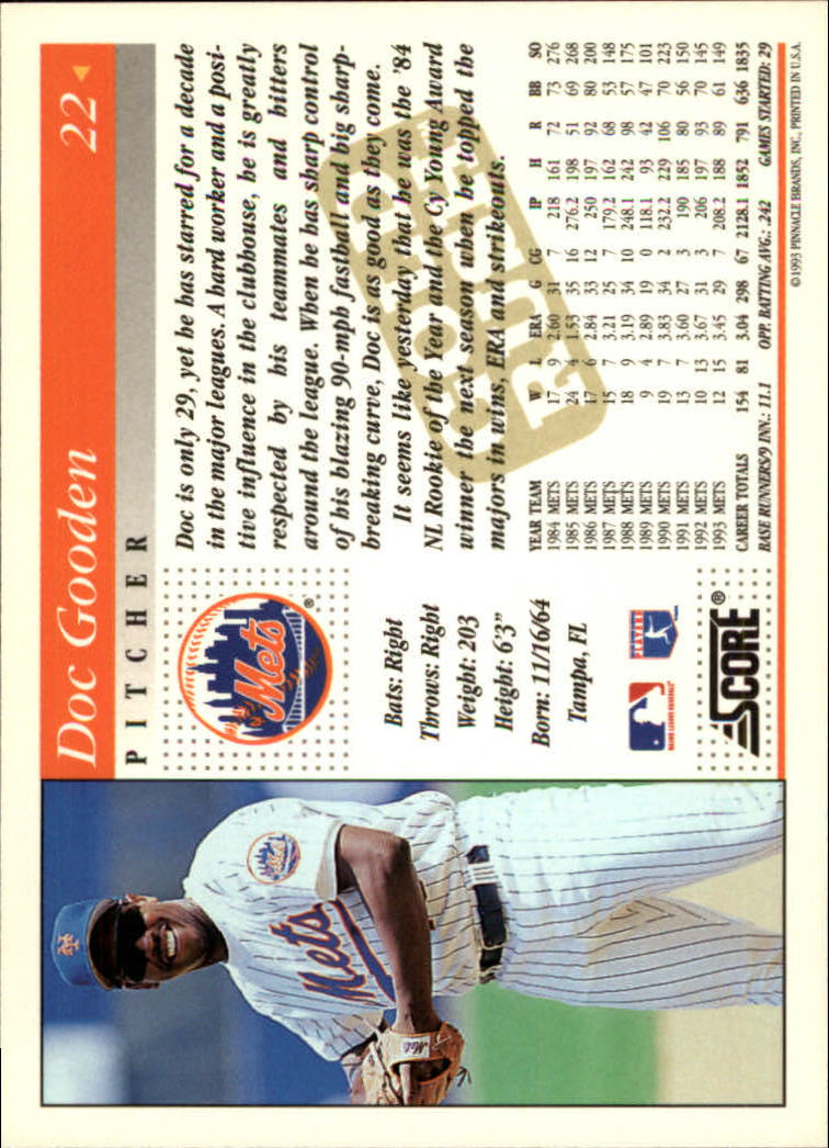 1994 Score Gold Rush #22 Dwight Gooden back image