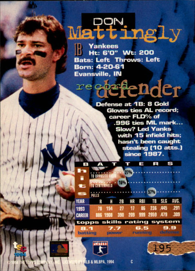 1994 Stadium Club #195 Don Mattingly back image