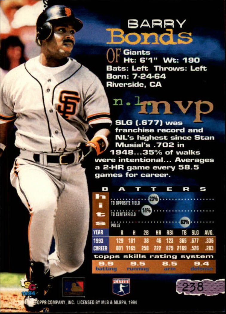 1994 Stadium Club #238 Barry Bonds back image