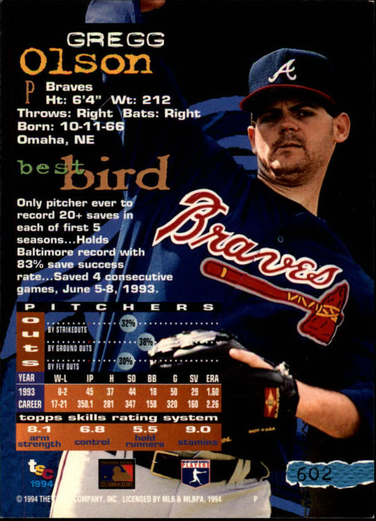 1994 Stadium Club #602 Gregg Olson back image