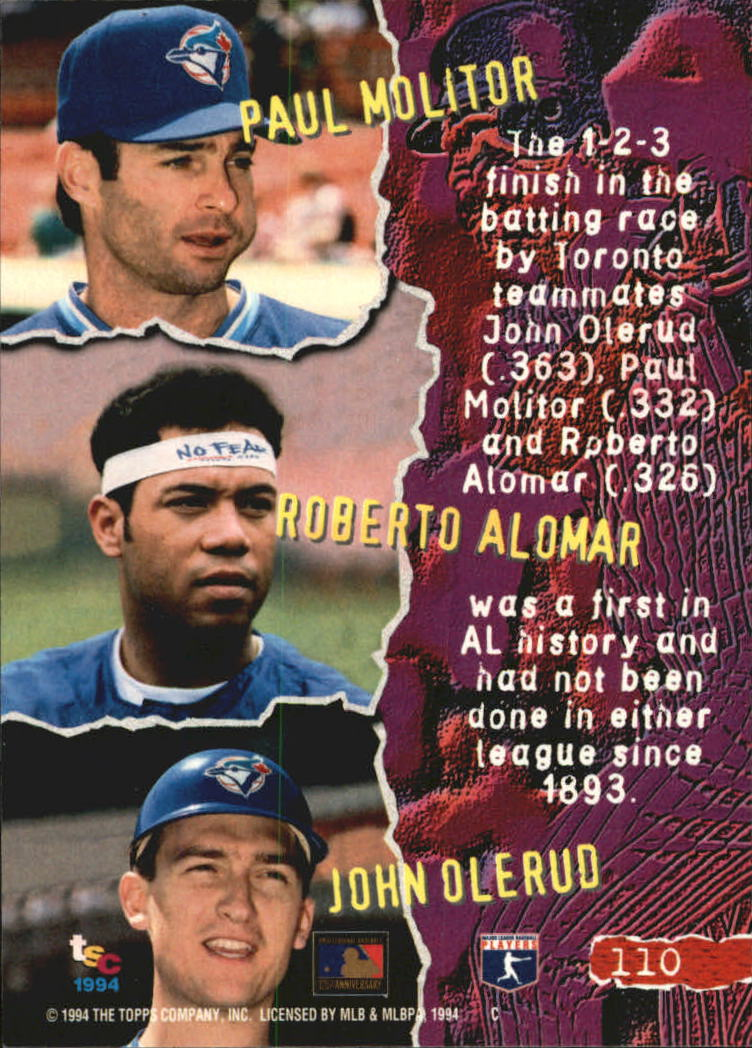 1994 Stadium Club Golden Rainbow #110 Alomar/Molitor/Olerud back image