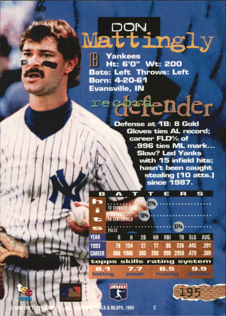1994 Stadium Club Golden Rainbow #195 Don Mattingly back image