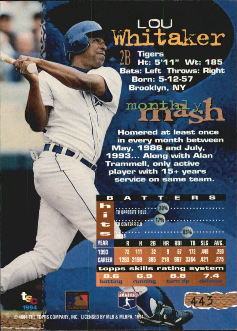 1994 Stadium Club Golden Rainbow #443 Lou Whitaker back image