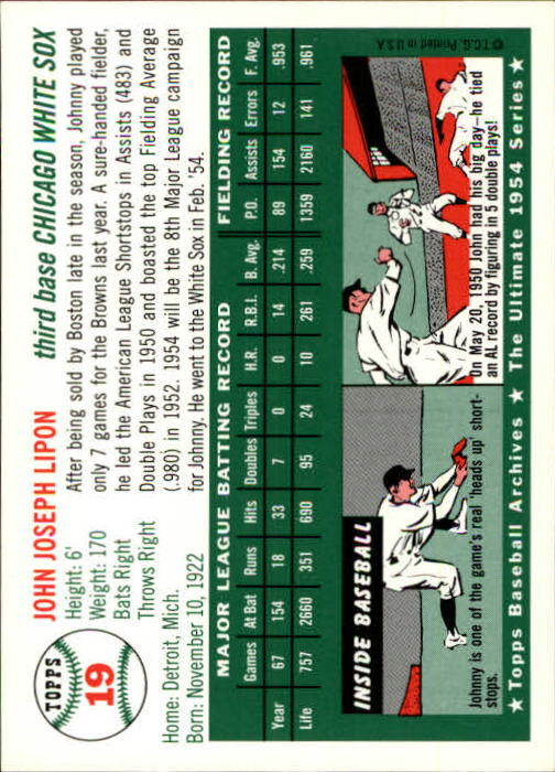 1994 Topps Archives 1954 #19 Johnny Lipon back image