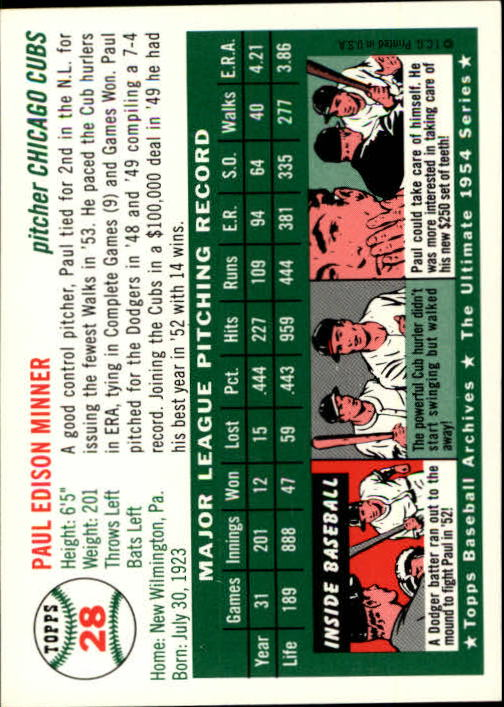 1994 Topps Archives 1954 #28 Paul Minner back image