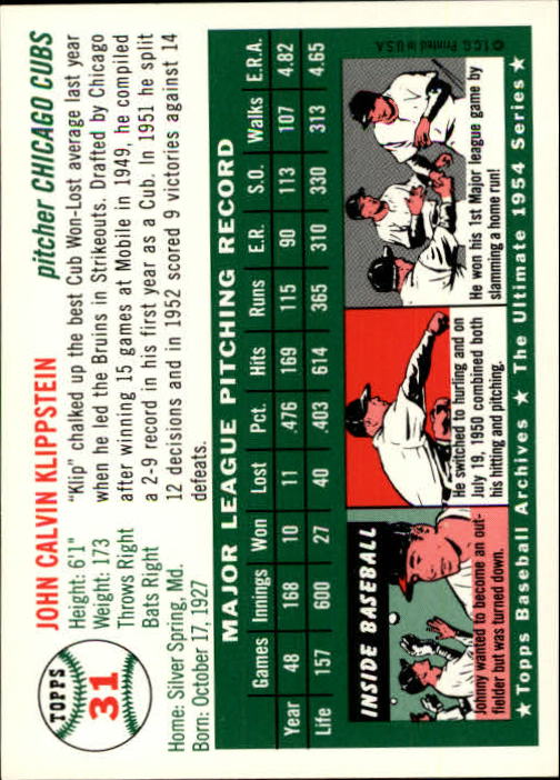 1994 Topps Archives 1954 #31 Johnny Klippstein back image
