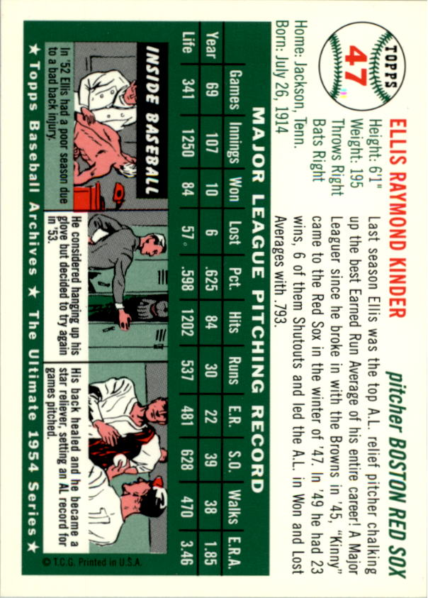 1994 Topps Archives 1954 #47 Ellis Kinder back image