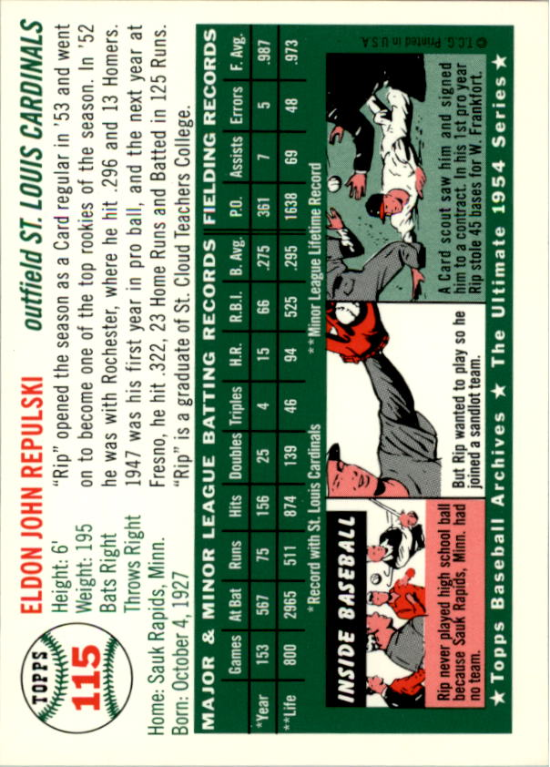 1994 Topps Archives 1954 #115 Rip Repulski back image