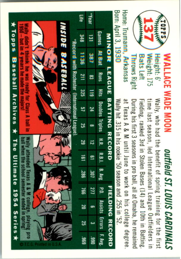 1994 Topps Archives 1954 #137 Wally Moon back image