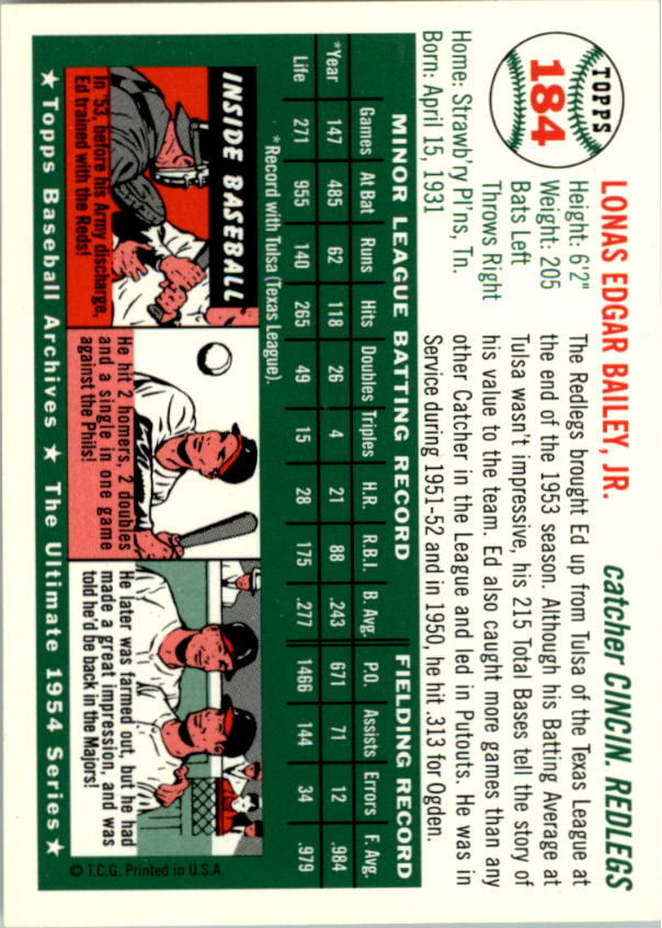 1994 Topps Archives 1954 #184 Ed Bailey back image