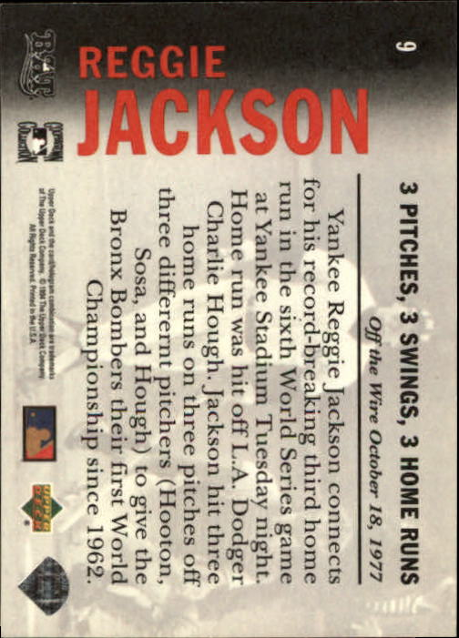 1994 Upper Deck All-Time Heroes #9 Reggie Jackson OW back image