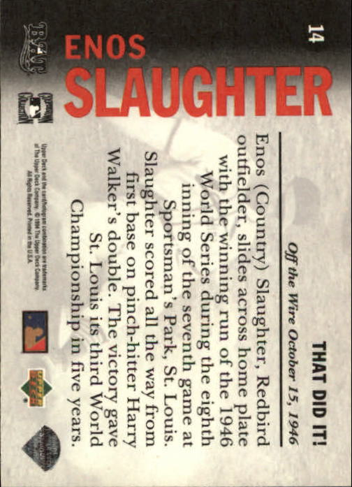1994 Upper Deck All-Time Heroes #14 Enos Slaughter OW back image