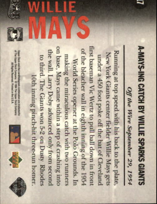 1994 Upper Deck All-Time Heroes #17 Willie Mays OW back image