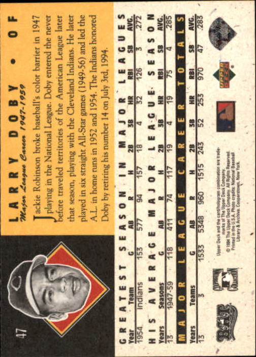 1994 Upper Deck All-Time Heroes #47 Larry Doby back image