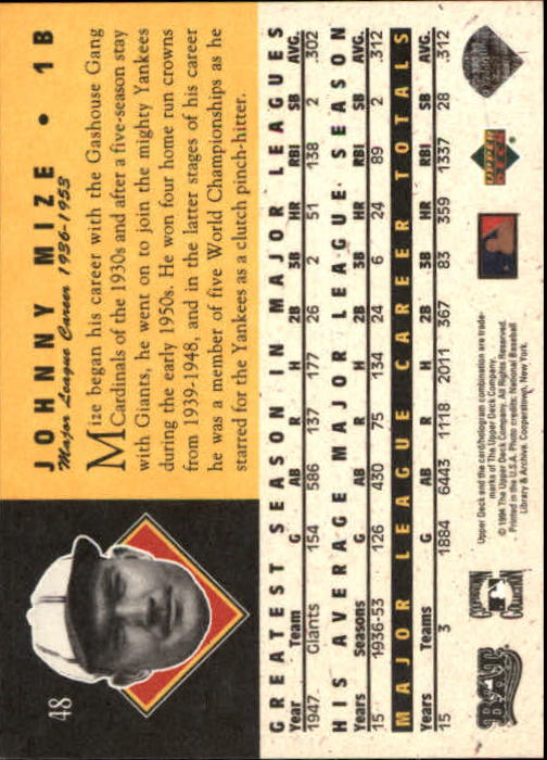 1994 Upper Deck All-Time Heroes #48 Johnny Mize back image