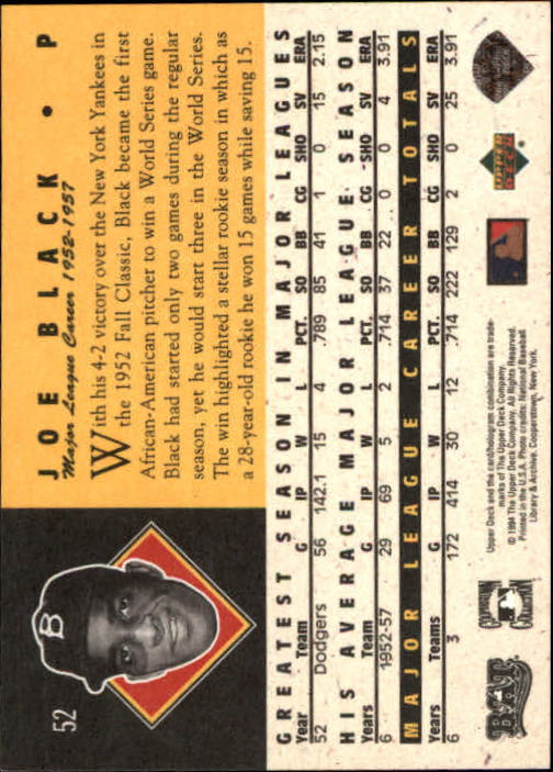 1994 Upper Deck All-Time Heroes #52 Joe Black back image