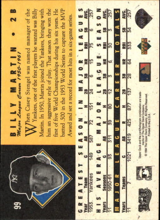 1994 Upper Deck All-Time Heroes #99 Billy Martin back image