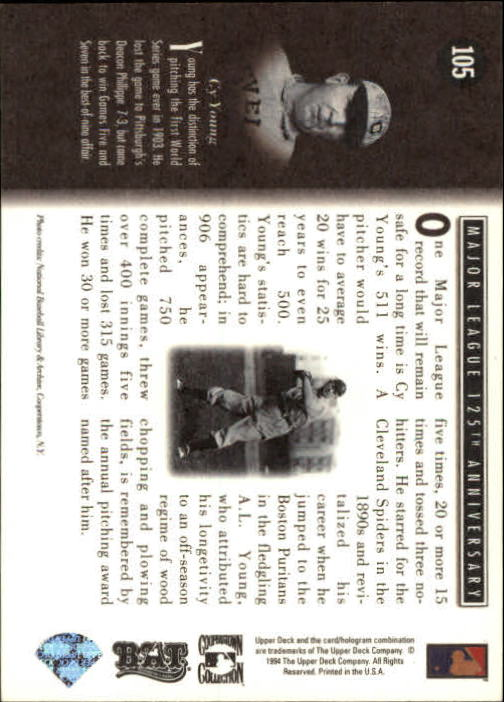 1994 Upper Deck All-Time Heroes #105 Cy Young ATH back image