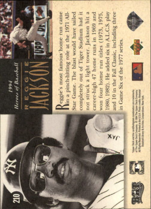 1994 Upper Deck All-Time Heroes #210 Reggie Jackson HB back image