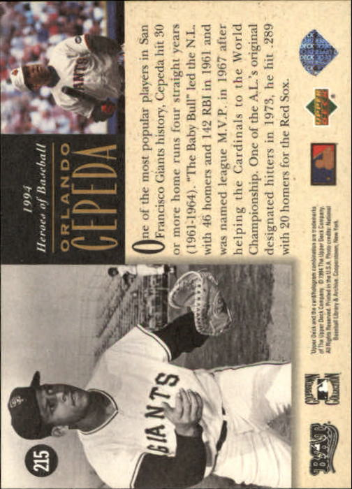 1994 Upper Deck All-Time Heroes #215 Orlando Cepeda HB back image