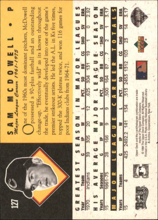 1994 Upper Deck All-Time Heroes 125th Anniversary #127 Sam McDowell back image