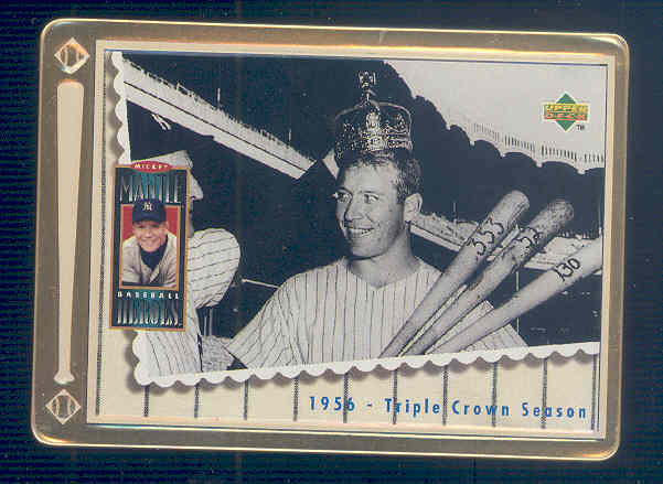 1995 Upper Deck Mantle Metallic Impressions #4 Mickey Mantle/1956 Triple Crown Season