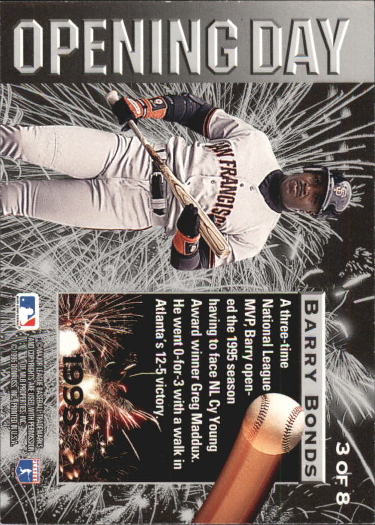 1995 Leaf Opening Day #3 Barry Bonds back image
