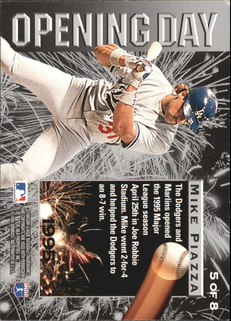 1995 Leaf Opening Day #5 Mike Piazza back image