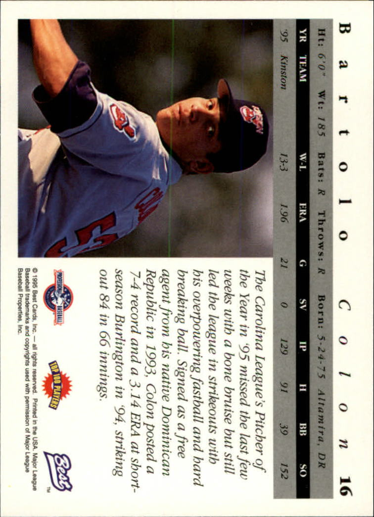 1995 Best #16 Bartolo Colon back image
