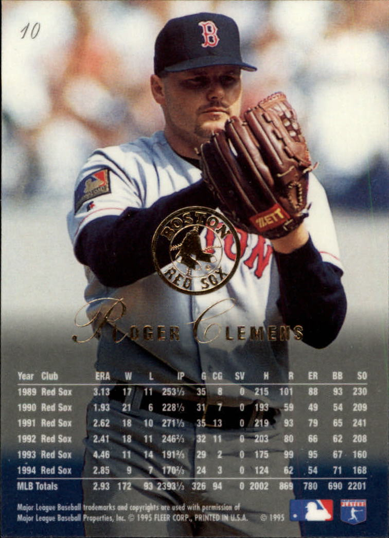 1995 Flair #10 Roger Clemens back image