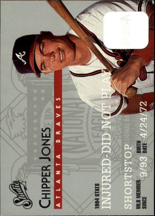 1995 Studio #160 Chipper Jones