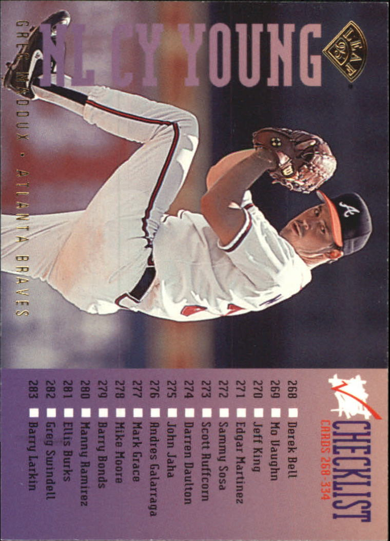 1995 Leaf Checklists #6 Greg Maddux
