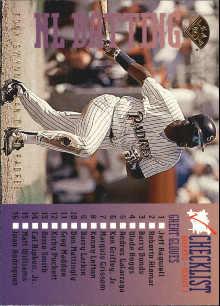 1995 Leaf Checklists #7 Tony Gwynn