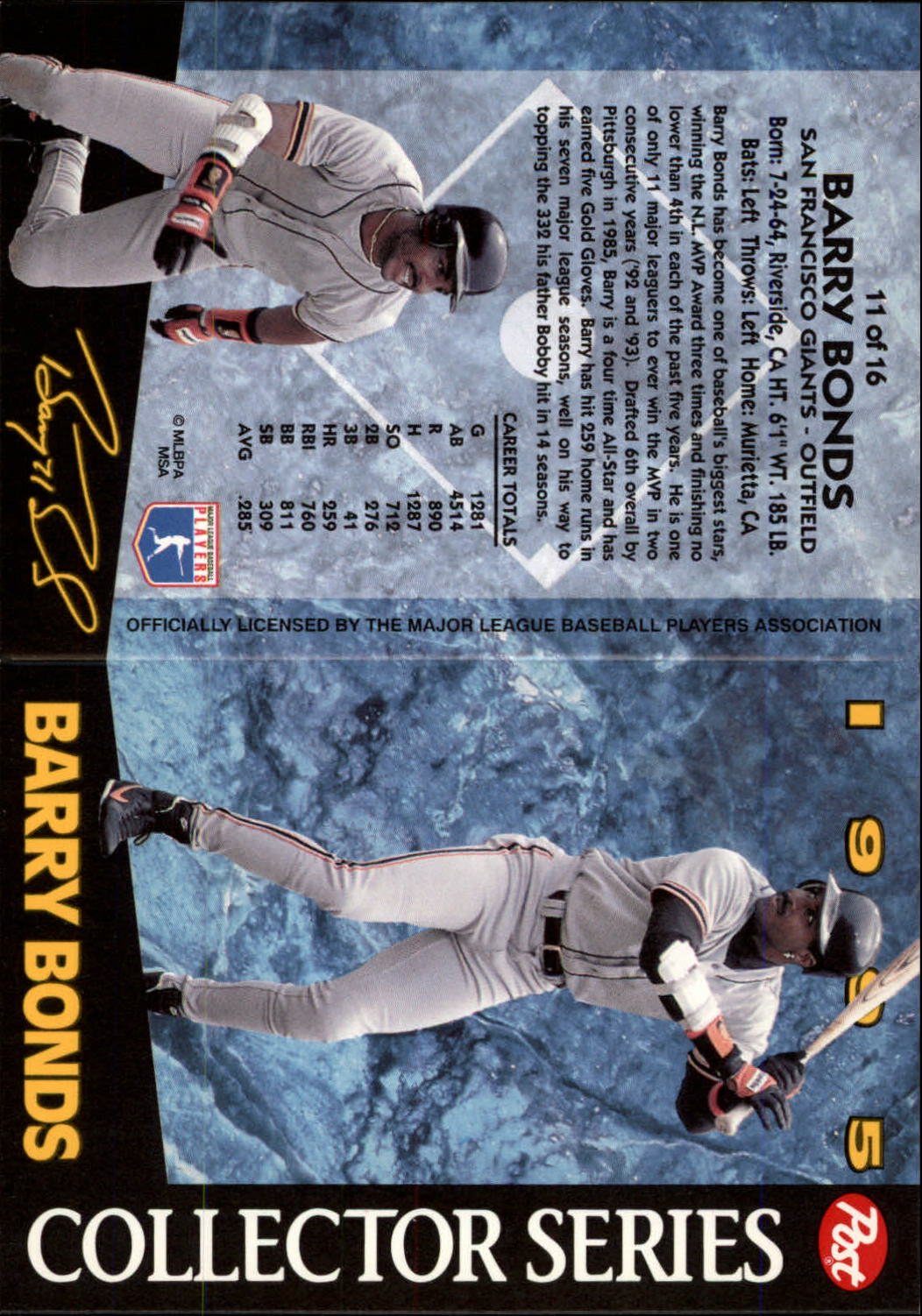 1995 Post #11 Barry Bonds back image