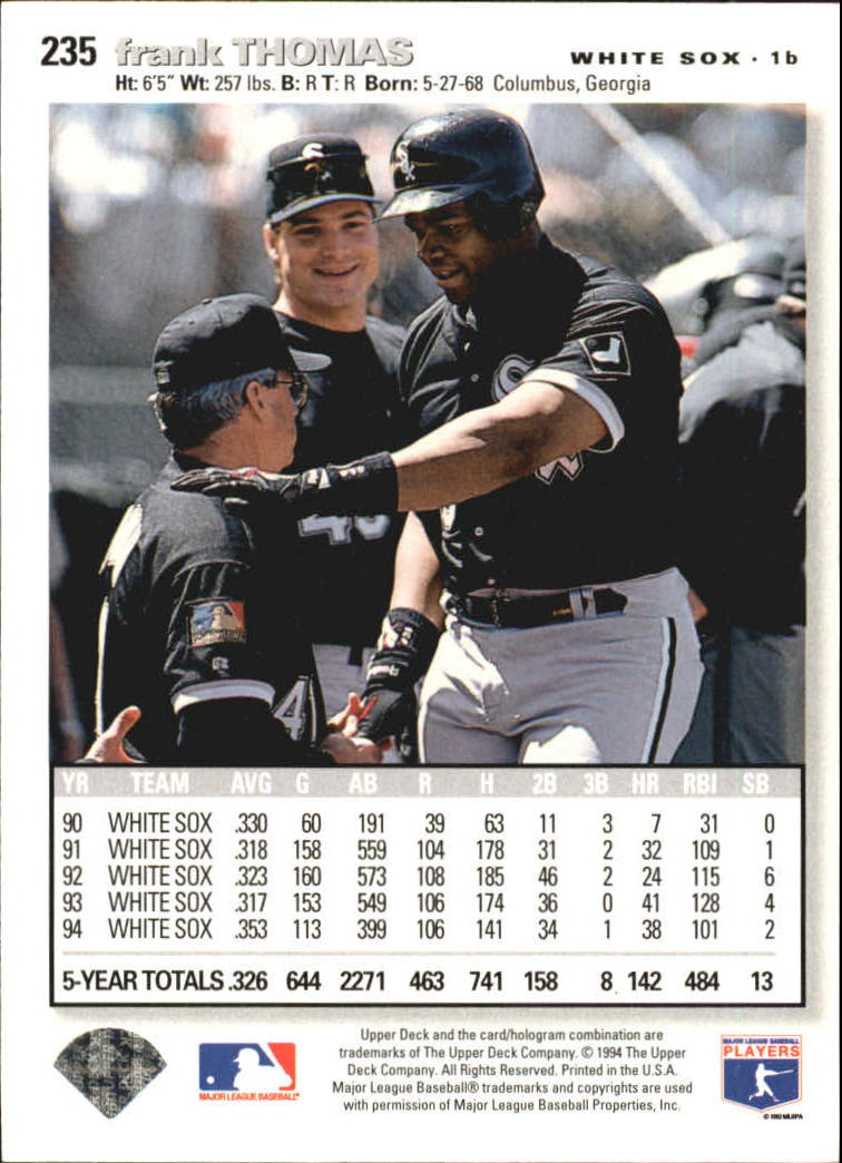 1995 Collector's Choice SE Silver Signature #235 Frank Thomas back image