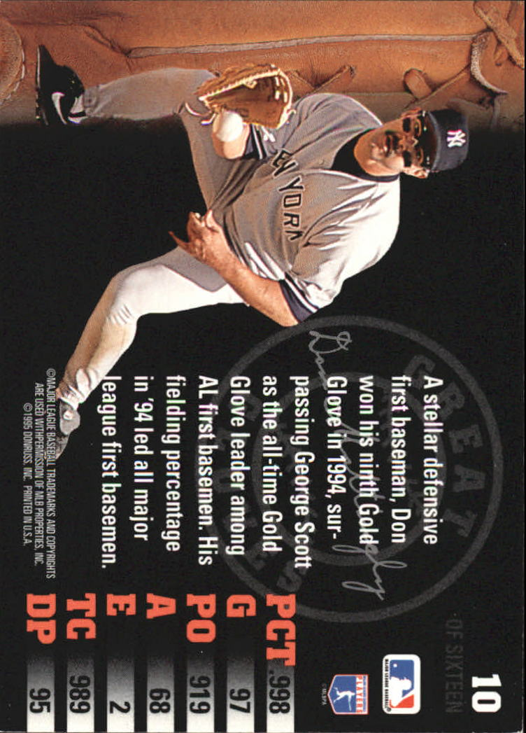 1995 Leaf Great Gloves #10 Don Mattingly back image