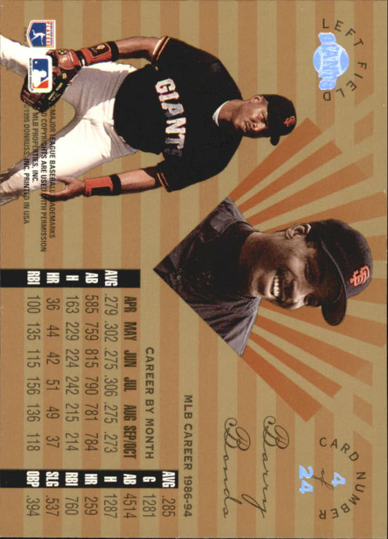 1995 Leaf Limited Gold #4 Barry Bonds back image