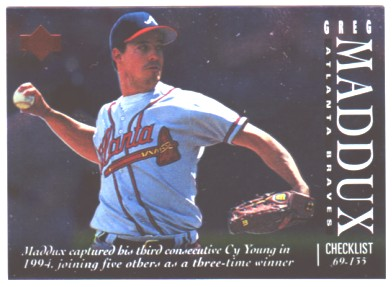 1995 Upper Deck Checklists #5A Greg Maddux