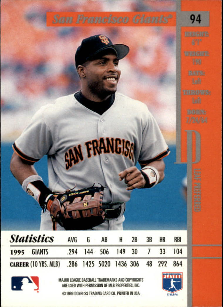 1996 Leaf Preferred #94 Barry Bonds back image