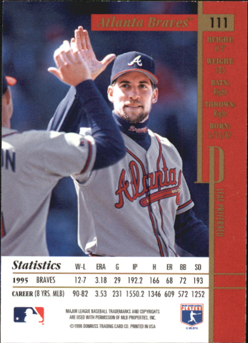 1996 Leaf Preferred Press Proofs #111 John Smoltz back image