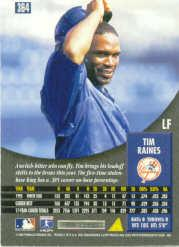 1996 Pinnacle #364 Tim Raines back image