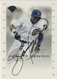 1996 Leaf Signature Extended Autographs #187 Sammy Sosa SP/1000