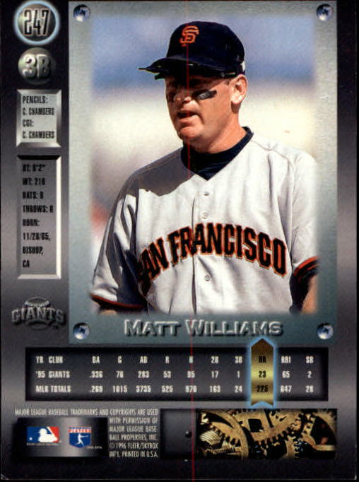 1996 Metal Universe #247 Matt Williams back image